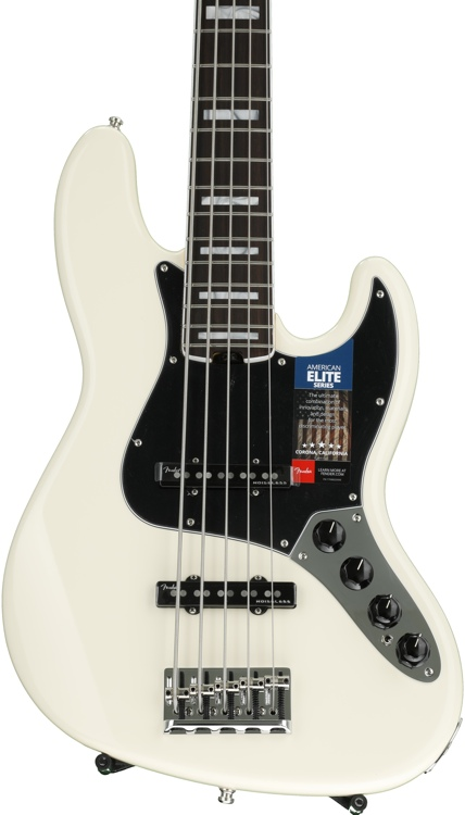 Fender American Elite Jazz Bass V - Olympic White, Rosewood Fingerboard image 1