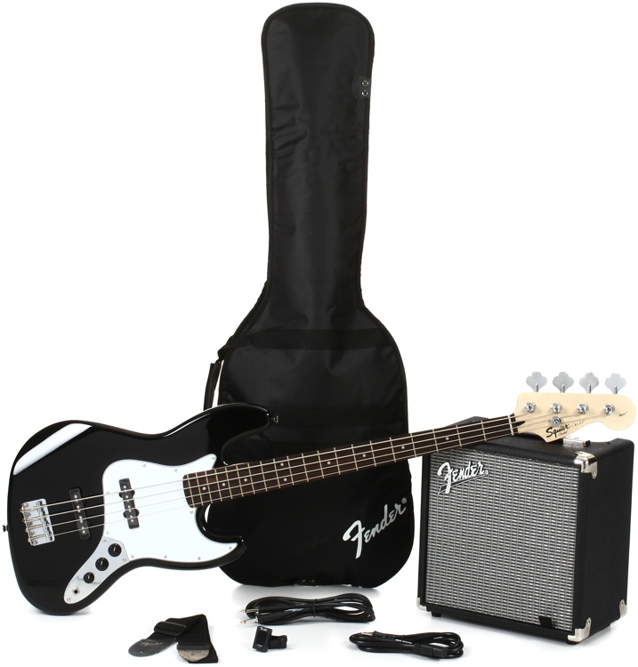 Squier Jazz Bass Pack with Rumble 15 Amplifier - Black image 1