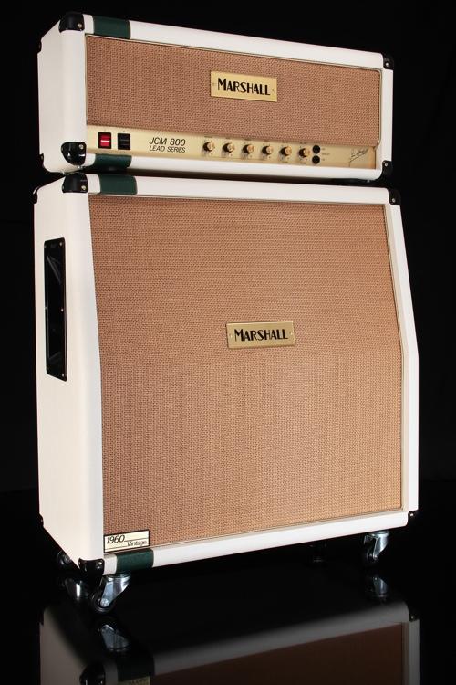 Marshall Custom Shop JCM800 Head and 1960AV Cabinet - Cream / Racing Green Stripe image 1