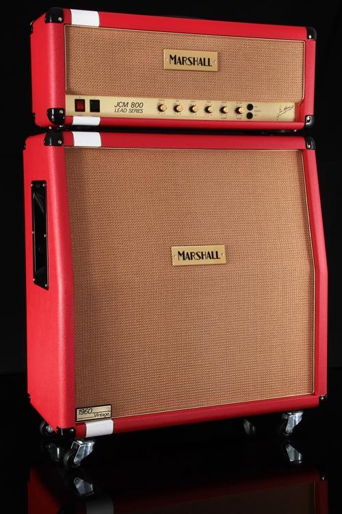 Marshall Custom Shop JCM800 Head and 1960AV Cabinet - Racing Red/White Stripe image 1