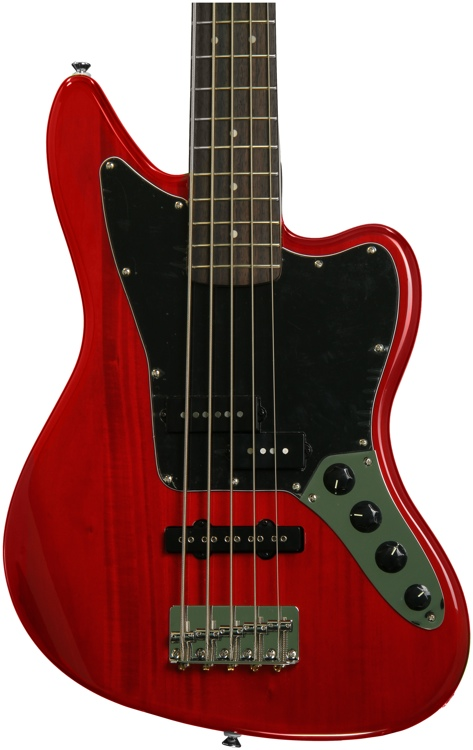 Squier Vintage Modified Jaguar Bass V Special - Crimson Trans image 1