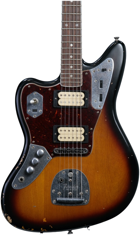 fender kurt cobain jaguar 3 tone sunburst left handed. Black Bedroom Furniture Sets. Home Design Ideas
