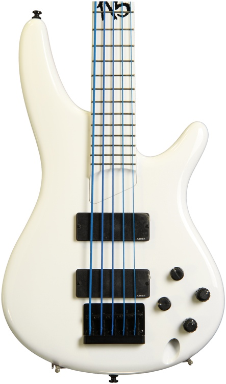Ibanez K5WHLTDWC Fieldy Signature Bass - 20th Anniversary, 5 String, White image 1