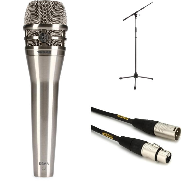 Shure KSM8N Handheld Microphone with Stand and Cable - Nickel image 1