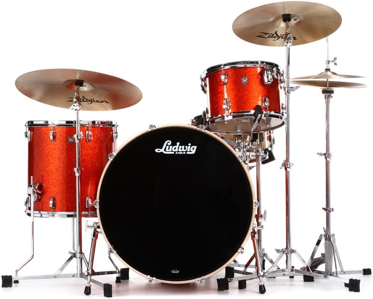 Ludwig Keystone X Pro Beat Shell Pack 3-piece - Orange Glitter image 1