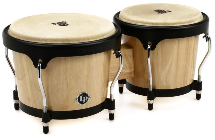 Latin Percussion Aspire Wood Bongos - Natural with Black Hardware image 1