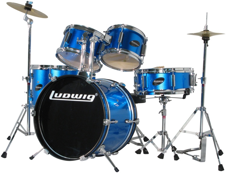 Ludwig 5-piece Junior Drum Set with Cymbals and Hardware - Blue Metallic image 1