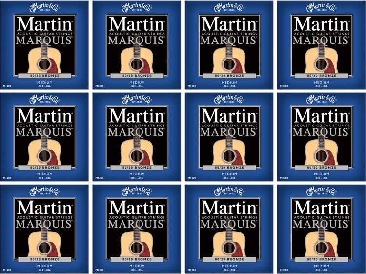 Martin M-1200 Marquis 80/20 Bronze Medium Acoustic Strings 12-Pack image 1