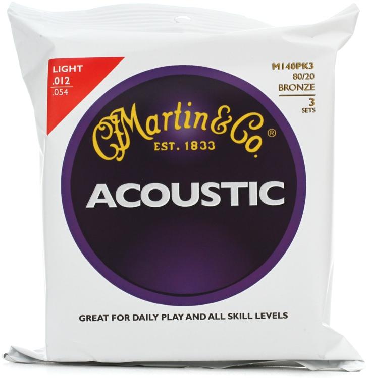 Martin M-140 80/20 Bronze Light Acoustic Strings 3-pack image 1