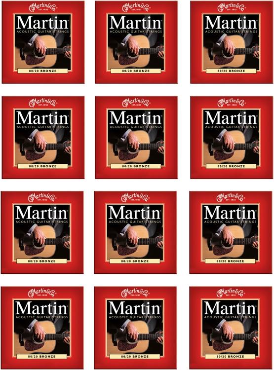 Martin M-140 80/20 Bronze Light Acoustic Strings 12-Pack image 1