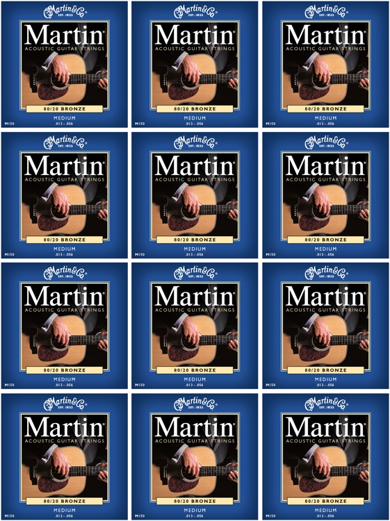 Martin M-150 80/20 Bronze Medium Acoustic Strings 12-Pack image 1