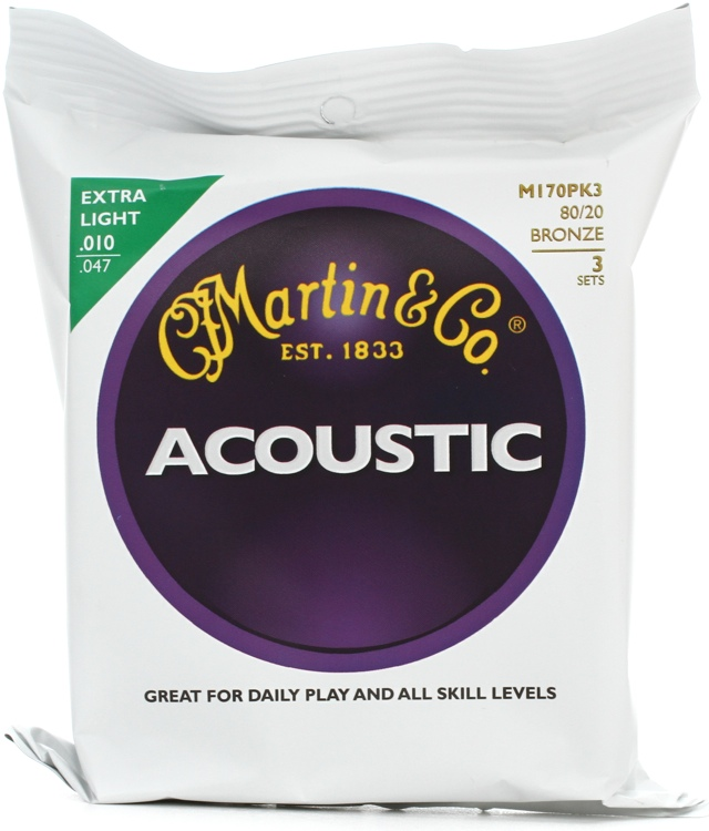 Martin M-170 80/20 Bronze Extra Light Acoustic Strings 3-Pack image 1