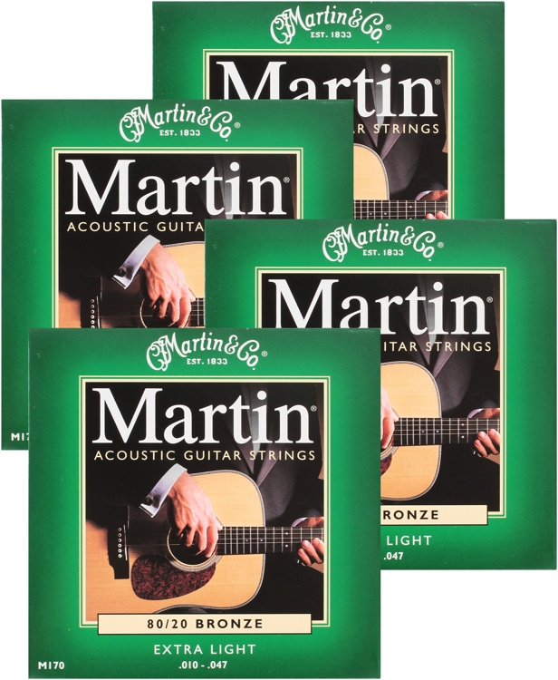 Martin M-170 4-Pack 80/20 Bronze Extra Light Acoustic Strings image 1