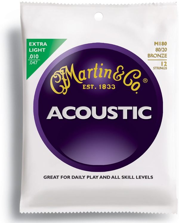 Martin M-180 Traditional 80/20 Bronze Extra Light Acoustic Strings image 1