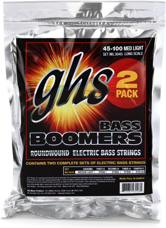GHS ML3024-2 Bass Boomers Roundwound Long Scale Medium Light Bass Strings - 2-Pack image 1