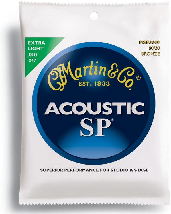 Martin MSP-3000 SP 80/20 Bronze Extra Light Acoustic Strings image 1