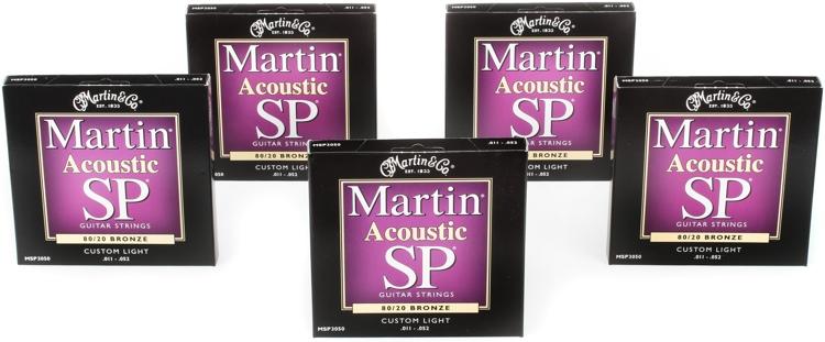 Martin MSP-3050 SP 80/20 Bronze Custom Light Acoustic Strings 5-Pack image 1