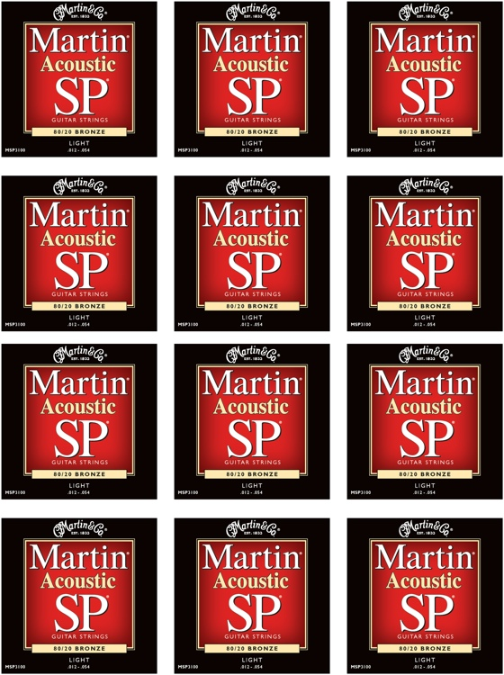 Martin MSP-3100 SP 80/20 Bronze Light Acoustic Strings 12-Pack image 1