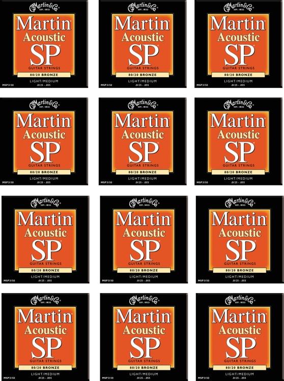 Martin MSP-3150 SP 80/20 Bronze Light/Medium Acoustic Strings 12-Pack image 1