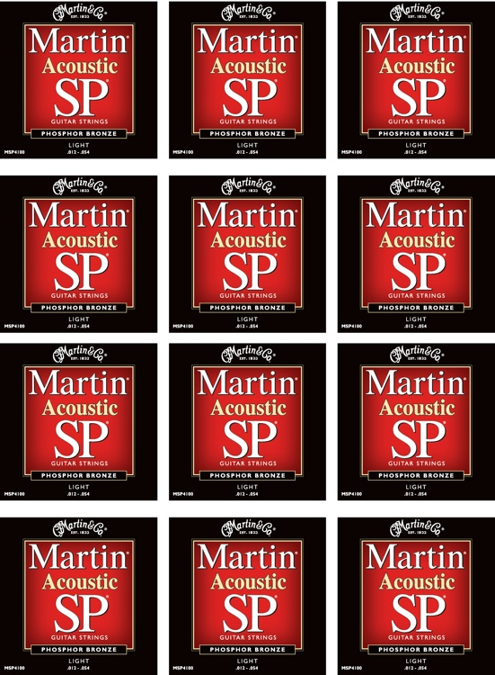 Martin MSP-4100 SP 92/8 Phosphor Bronze Light Acoustic Strings 12-Pack image 1