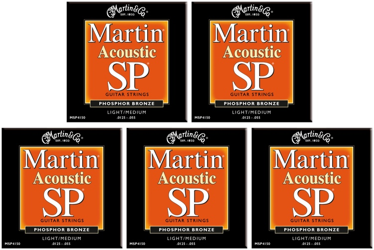 Martin MSP-4150 SP 92/8 Phosphor Bronze Light/Medium Acoustic Strings 5-Pack image 1