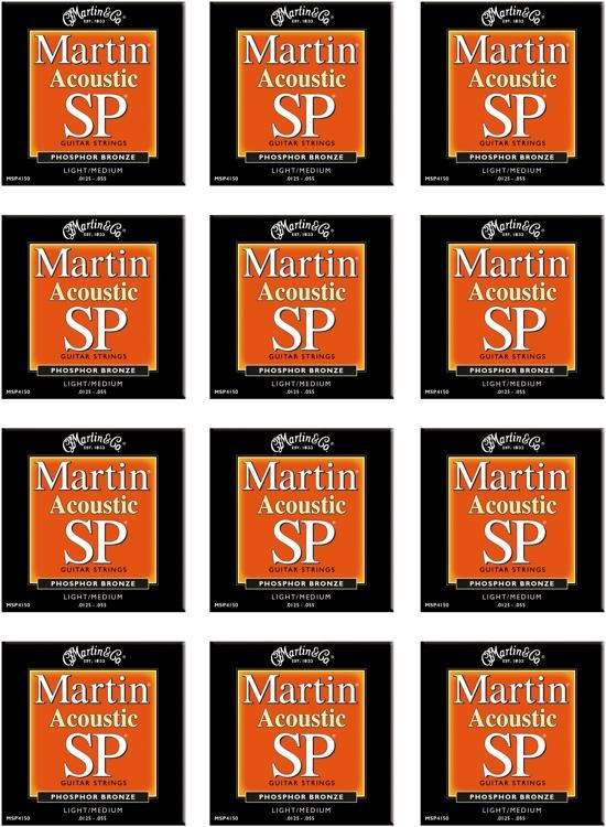 Martin MSP-4150 SP 92/8 Phosphor Bronze Light/Medium Acoustic Strings 12-Pack image 1