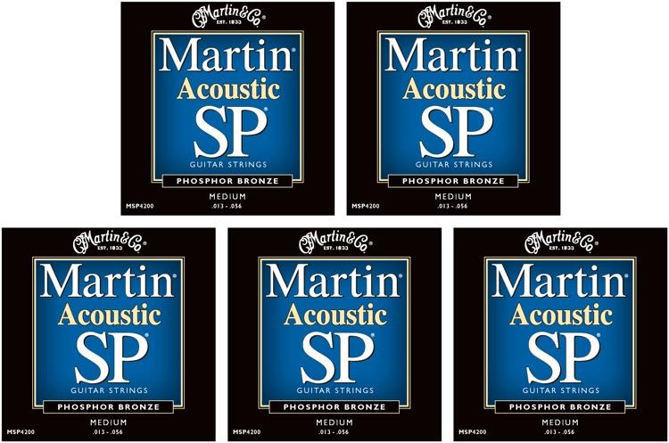 Martin MSP-4200 SP 92/8 Phosphor Bronze Medium Acoustic Strings 5-Pack image 1
