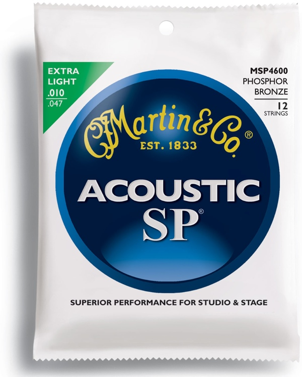 Martin MSP-4600 SP 92/8 Phosphor Bronze Extra Light 12-String Acoustic Strings image 1