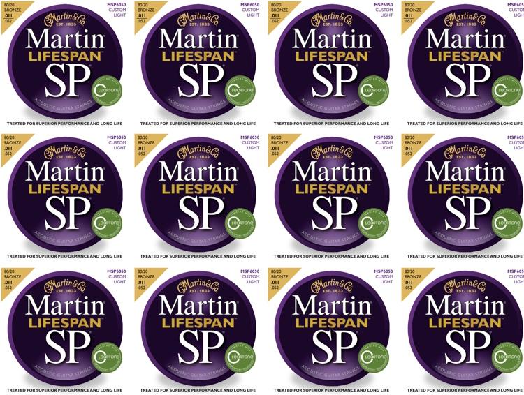 Martin MSP6050 SP Lifespan 80/20 Bronze Custom Light Acoustic Strings 12-Pack image 1