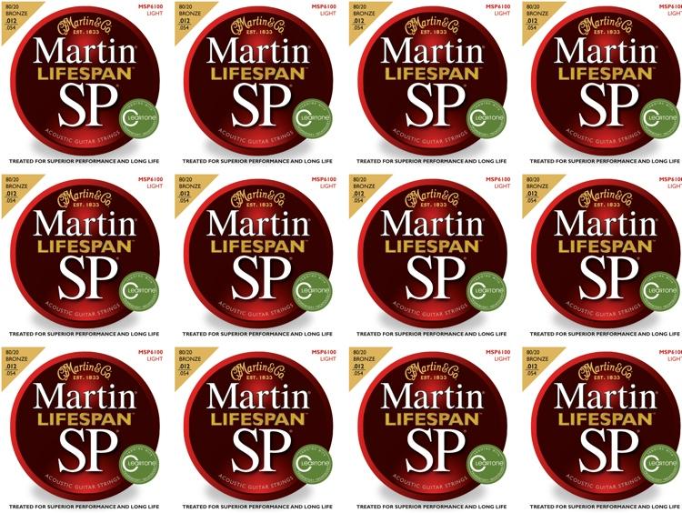 Martin MSP6100 SP Lifespan 80/20 Bronze Light Acoustic Strings 12-Pack image 1