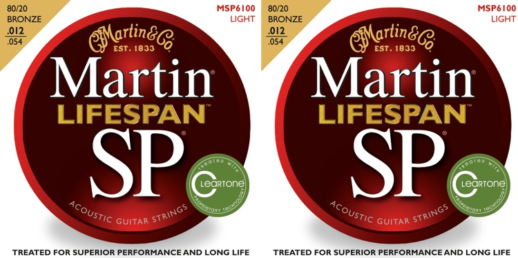 Martin MSP6100 SP Lifespan 80/20 Bronze Light Acoustic Strings 2-Pack image 1