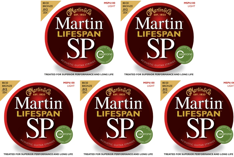 Martin MSP6100 SP Lifespan 80/20 Bronze Light Acoustic Strings 5-Pack image 1