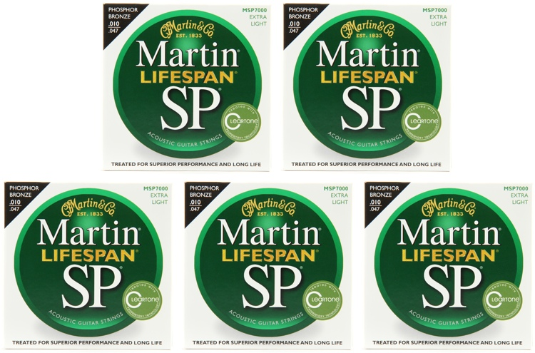 Martin MSP7000 SP Lifespan 92/8 Phosphor Bronze Extra Light Acoustic Strings 5-Pack image 1