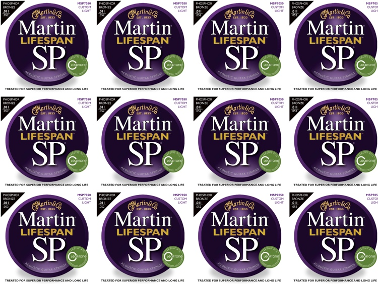 Martin MSP7050 SP Lifespan 92/8 Phosphor Bronze Custom Light Acoustic Strings 12-Pack image 1