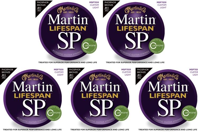 Martin MSP7050 SP Lifespan 92/8 Phosphor Bronze Custom Light Acoustic Strings 5-Pack image 1