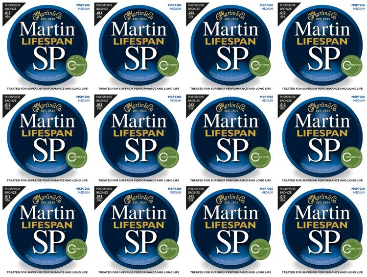 Martin MSP7200 SP Lifespan 92/8 Phosphor Bronze Medium Acoustic Strings 12-Pack image 1
