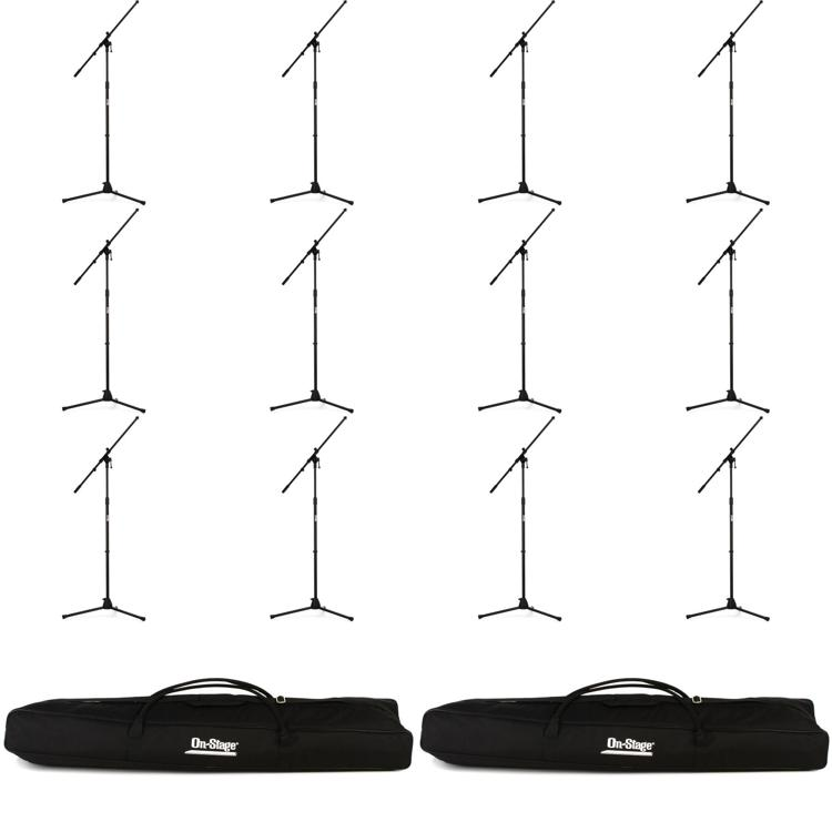 On-Stage Stands MS7701B Tripod Microphone Stand Bundle - 12 Stands + 2 Bags, Black image 1