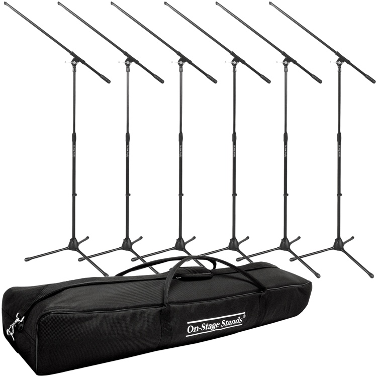On-Stage Stands MS7701B Tripod Microphone Stand Package - 6 Stands + 1 Bag, Black image 1