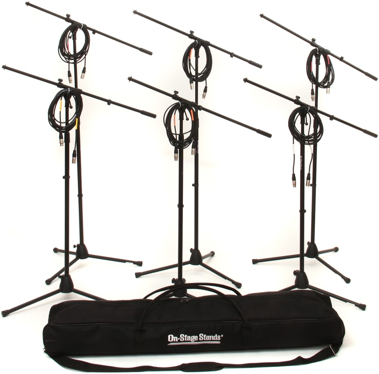 On-Stage Stands MS7701B Tripod Microphone Stand Bundle - 6 Stands + 6 Cables + 1 Bag, Black image 1