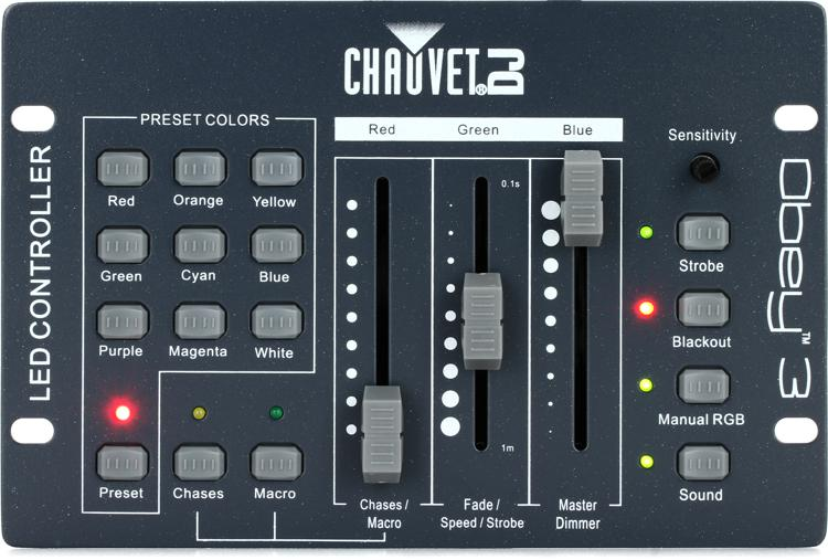 chauvet dj obey 3 3 ch dmx lighting controller sweetwater. Black Bedroom Furniture Sets. Home Design Ideas