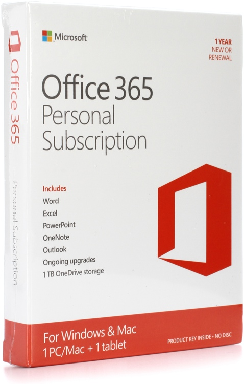 microsoft office 365 personal 1 year subscription sweetwater. Black Bedroom Furniture Sets. Home Design Ideas