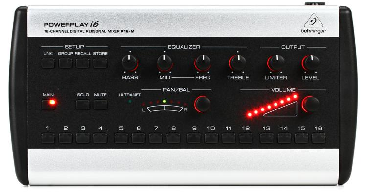 behringer powerplay p16 m 16 channel digital personal mixer sweetwater. Black Bedroom Furniture Sets. Home Design Ideas
