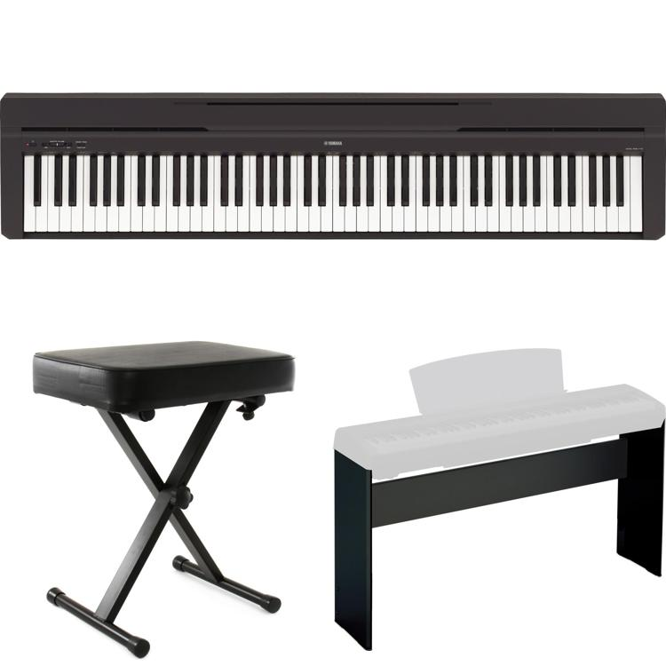yamaha p 45 digital piano with stand and bench sweetwater. Black Bedroom Furniture Sets. Home Design Ideas
