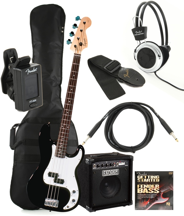 Squier Precision Bass Pack with Rumble 15 Amplifier - Black image 1
