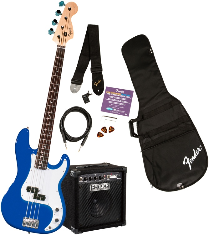 Squier Precision Bass Pack with Rumble 15 Amplifier - Metallic Blue image 1