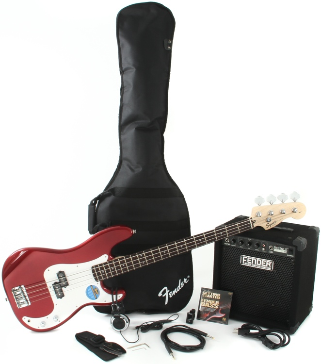 Squier Precision Bass Pack with Rumble 15 Amplifier - Metallic Red image 1