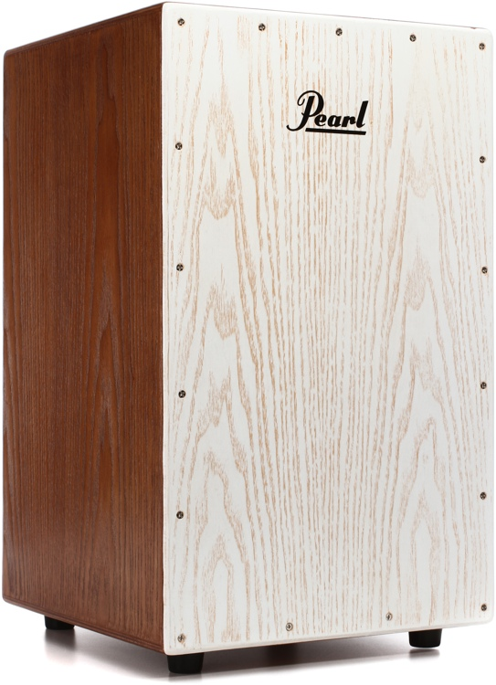 Pearl Ash Cajon with Bag - Brown Lacquer w/White Faceplate image 1