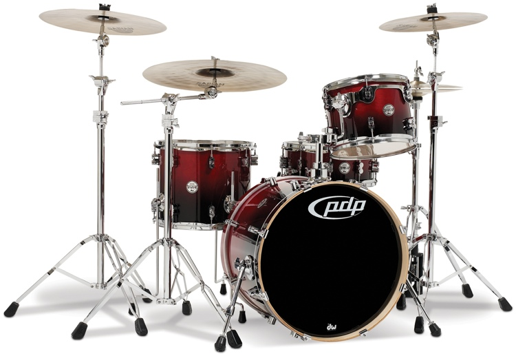 PDP Concept Birch 4-piece Drum Kit - Cherry to Black Fade image 1