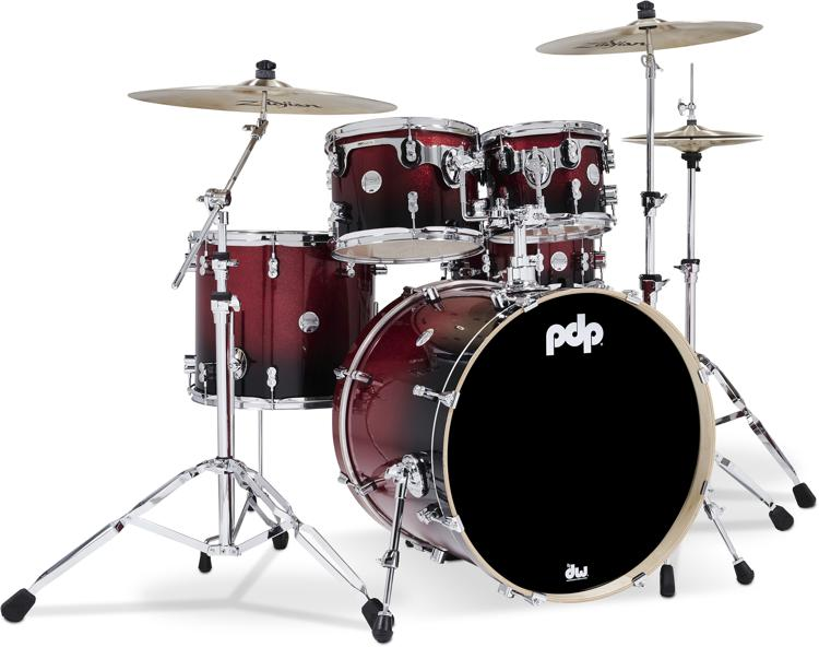 PDP Concept Maple Shell Pack - 5-piece - Red To Black Sparkle Fade image 1
