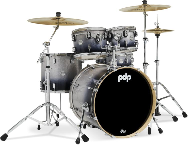 PDP Concept Maple Shell Pack - 5-piece - Silver To Black Sparkle Fade image 1